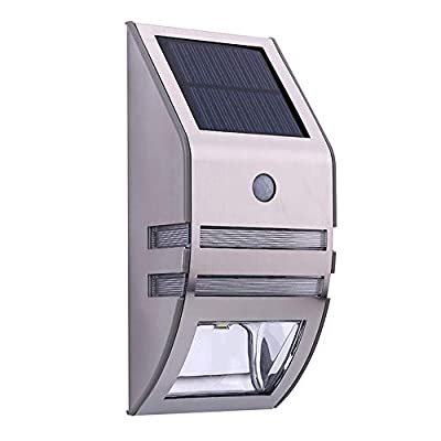 Cimic Solar Outdoor Wall Sconce Accent Lights Metal Fence Post Lamp Led Motion Sensor Waterproof Security White Lighting Patio Yard Stair Step Deck Driveway Walkway Safety Nightlight