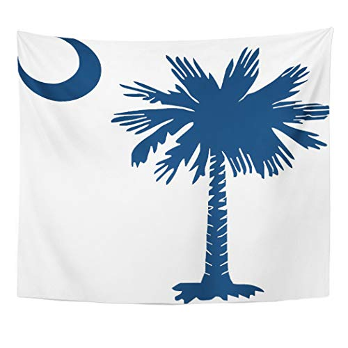 Semtomn Tapestry Artwork Wall Hanging South Sc Palmetto Crescent Carolina Native Columbia Charleston Greenville 50x60 Inches Home Decor Tapestries Mattress Tablecloth Curtain Print -
