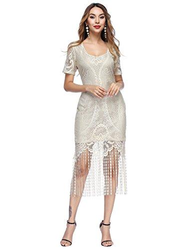 beige Vestido gran de fiesta SELUXU Y de 1920 flecos mujeres Gatsby de abalorios aleta Vintage v6qaSZwA