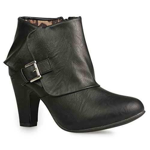 Twisted Women's Hailey Wide Width Cuffed Buckled Ankle Bootie - BLACK, Size  10