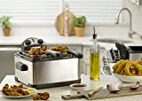Gourmia GDF450 Compact Electric Deep Fryer 3 Baskets Dual Thermostat & Timer Stainless Steel 4.2 Quart/18 Cups of Oil 4 Lbs. Food Capacity 1700W Anti-Grease Fry Filter -110V