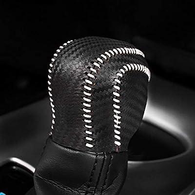 Bwen Car Genuine Leather Gear Shift Cover Carbon Fiber Pattern Gear Shift Knob Cover for Toyota C-HR 2020 2020: Automotive
