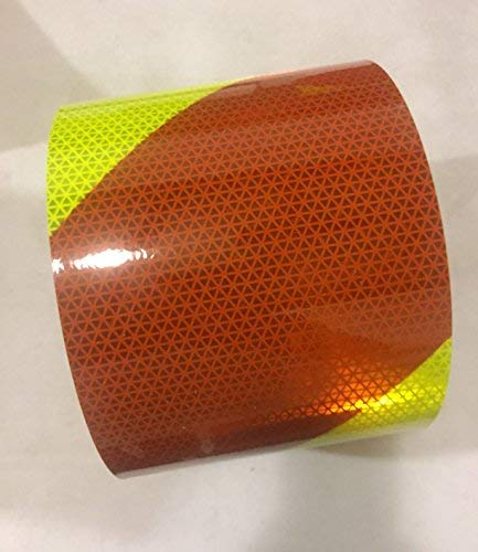 Safe Way Traction 6 x 10 Roll Orafol Oralite V98 Conformable Pre-Striped Chevron Fluorescent Lime Yellow and Red Striped Reflective Safety Tape Right Hand Slant