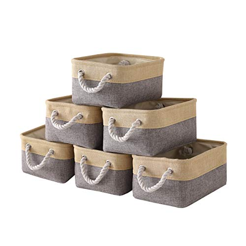 TheWarmHome Foldable Storage Basket with Strong Cotton Rope Handle, Collapsible Storage Bins Set Works As Baby Storage, Toy Storage, Nursery Baskets (Grey, 6Pack-11.8L7.9W5.2H)