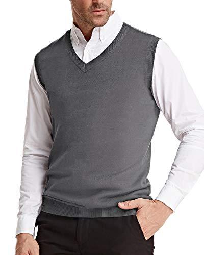 PJ PAUL JONES Slim Fit V-Neck Pullover Sweater Vest for Men Soft Knit Basic Solid (XL, Grey) ()