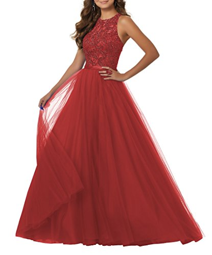YORFORMALS Floor Length Beaded Tulle Plus Size Prom Dress A-Line Formal Evening Gown Size 28 Red