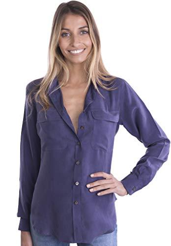 b6040810e02 CAMIXA Womens 100% Silk Blouses Ladies Shirt Casual Pocket Button up  Elegant Top