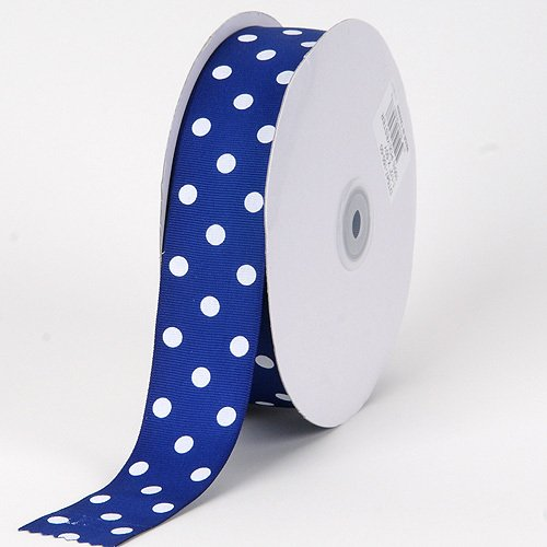 Blue Polka Dot Grosgrain Ribbon - BBCrafts 7/8 inch x 50 Yards Grosgrain Polka Dot Ribbon Decoration Wedding Party (Royal Blue with White Dots)