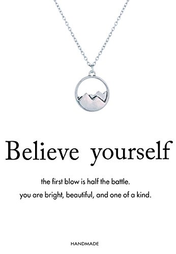 "Monily ""Believe yourself"" Mountain Pendant Necklace Dainty Chain Outdoor Lovers Woman Jewellery"