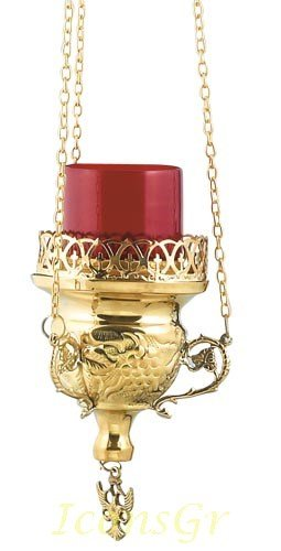 Gold Plated Orthodox Greek Christian Bronze Hanging Votive Vigil Oil Lamp with Chain and Red Glass - 9770g by Iconsgr
