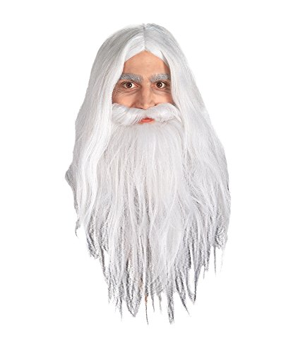 Gandalf The White Costume (UHC Adult Gandalf Wizard Wig & Beard White Halloween Costume Accessory)