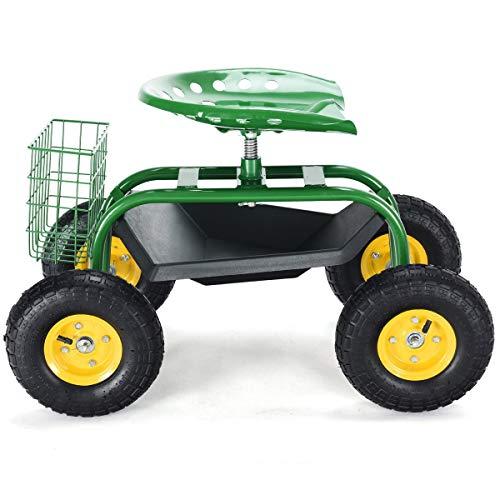 Goplus-Garden Cart Rolling Wagon Scooter
