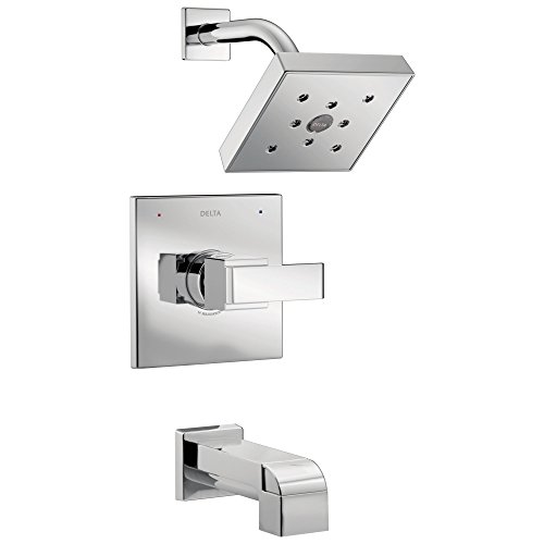 Delta Ara Collection Chrome Monitor 14 H2Okinetic Watersense Modern Square Lever Handle Tub & Shower Combo Faucet Includes Valve without Stops D2385V - Collection Lever Handle Tub