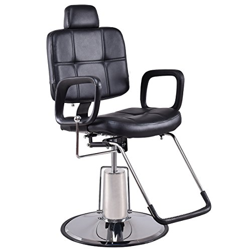 Giantex Barber Chair Reclining Hydraulic Styling Salon Beauty Shampoo Spa Equipment, Black by Giantex