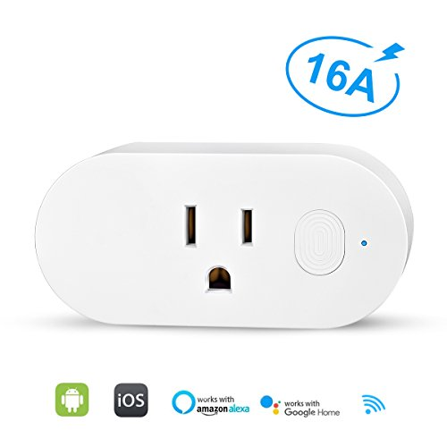 Price comparison product image Smart Plug Wifi Mini - VANZAVANZU Smart Outlet Socket with Energy Monitor, 16A for Larger Appliances, App Control from Anywhere, Works with Amazon Alexa, Google Assistant and IFTTT (1 Pack, Oval)