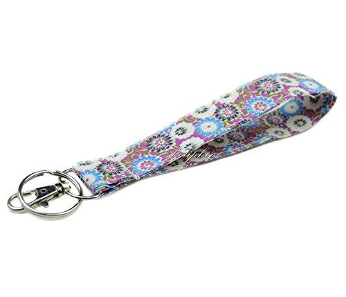 Vera Bradley Key - Fabric Wristlet keychain with Lobster hook and keyring for Key fob, Key, ID Badge Holder, USB, Purse (Purple)