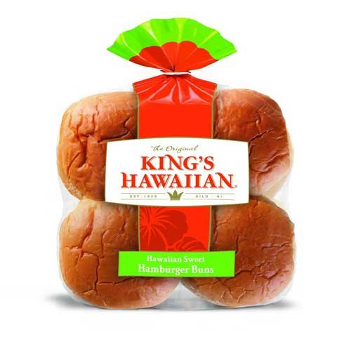 Kings Hawaiian Sweet Hamburger Buns, 12.8 Ounce -- 12 per case.