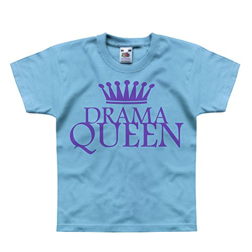 Nutees Drama Queen Disco 80's Theatre Unisex Kids T Shirts - Light Blue 14/15 -