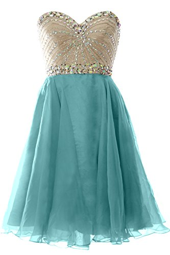 Wedding Party Formal Short Prom MACloth Chiffon Gown Dress Women Turquoise 2016 Strapless n1qnwx4C6