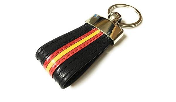 Llavero DE Piel Color Negro con Bandera DE ESPAÑA: Amazon.es: Equipaje