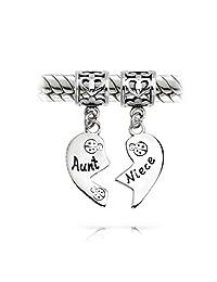 Bff Aunt Niece Ladybug Puzzle Two Piece Split Heart Shape Dangle Bead Charm 925 Sterling Silver Fits European Bracelet