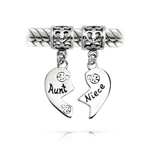 Bling Jewelry Aunt Niece Heart Shape Dangle Charm Bead Set .925 Sterling Silver Shape Dangle Charm