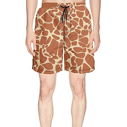 Voslin Men's Giraffe Fur Animal Skin theam Beach Trunks Quick Drying Waist Drawstring Short Pants for Men Beach Shorts for Men]()