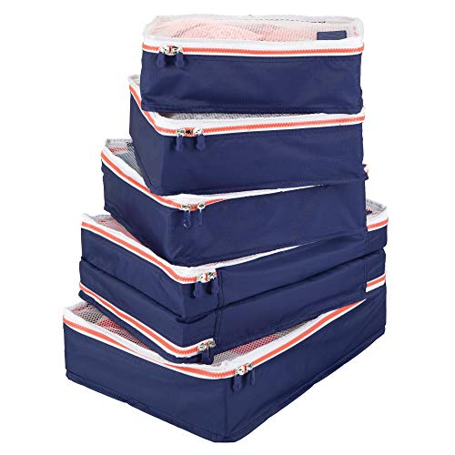 mDesign Versatile Travel Storage Organizer Cubes - Mesh Tops, Integrated Handles and Two-Way Zippers: Perfect for Packing Luggage/Suitcase and Carry-On - Set of 5, Navy Blue/White Trim, Orange Zipper from mDesign