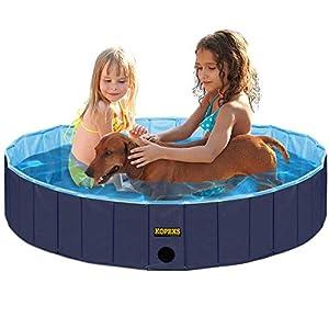 KOPEKS Piscina Pequeña Mediana Infantil Ideal para Niños/Mascotas Perros 80 x 20 cm – Azul Marino y Celeste – S/M