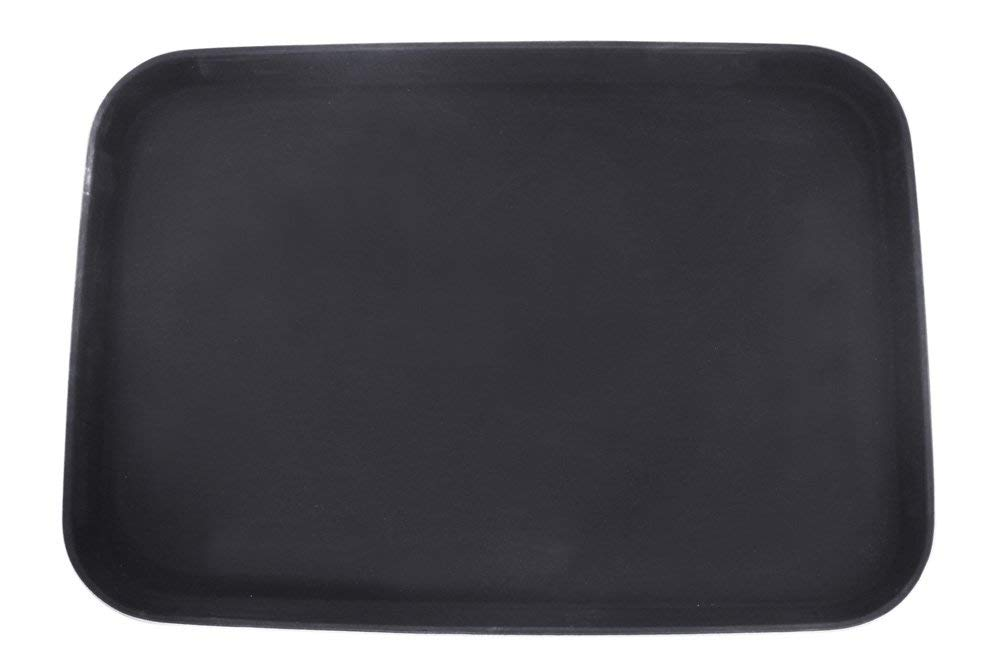 New Star Foodservice 25279 Non-Slip Tray, Plastic, Rubber Lined, Rectangular, 16 x 22 inch, Black