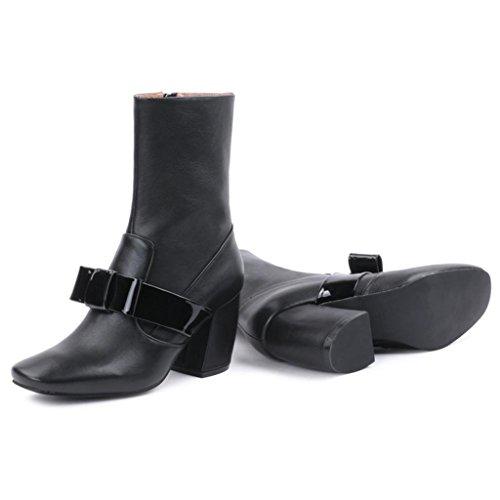 Dames Cuir Haut Noir with Bottes Tête Black Martin carrée Femelles Bottes Rough Talon Boots Femmes aux Bottes LIUShoe Les en Bottes dans tq7ww6
