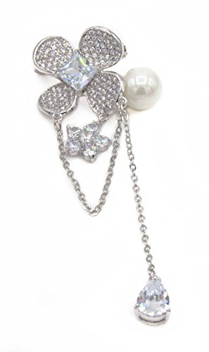 ARYA Collections Flower and Pearl Brooch with Tear Drop Dangling Pendant