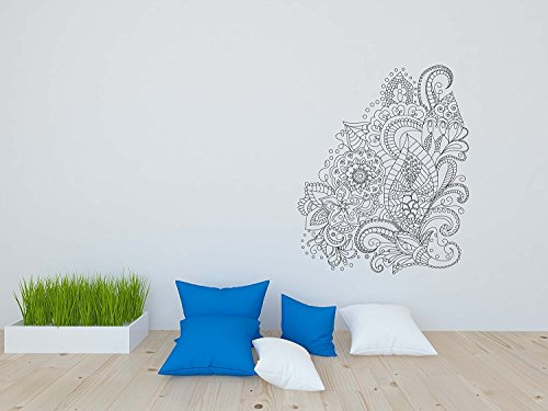 Coloring Book Wallpaper Peel and Stick for Kids and Adults Henna Abstract Mandala Flowers (25W x 29H Inches)