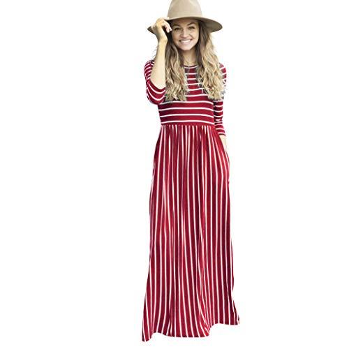 GDJGTA Dress for Womens Long Sleeve Striped Printed Casual Pockets Long Maxi Dress Wine