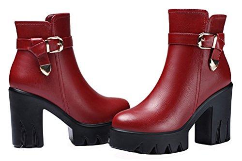 Gucciheaven Donna Inverno Piattaforma Tacco Alto Scarpe Peluche Foderato Stivaletto (nero / Rosso) Rosso
