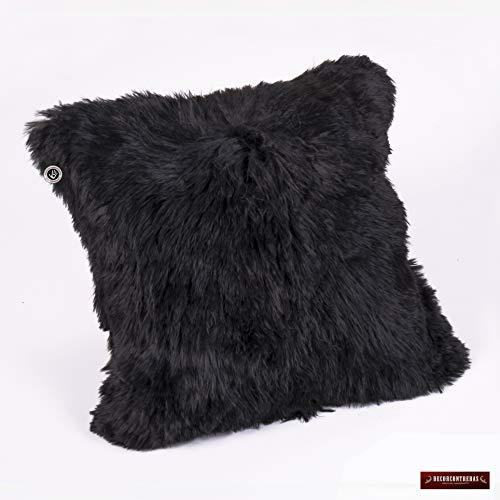 Peruvian Black Suri Alpaca Fur Pillow Cover 18x18
