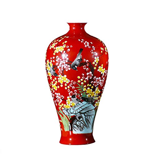 SLH Red Chinese Living Room Decorations Craft Hand-Painted Porcelain Bottle Jingdezhen Ceramic Vase Decoration Flower Arrangement
