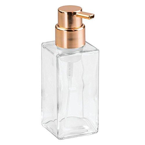 - InterDesign Casilla Glass Foaming Soap Dispenser Pump for Kitchen and Bathroom Sinks - Clear/Copper