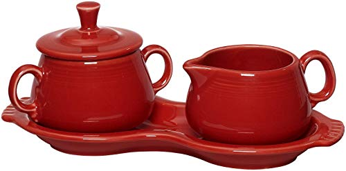 (Fiesta Scarlet 821 Sugar and Creamer with Tray)