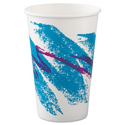 SCCRSP16PJ Paper Cold Cups, 16 oz, Jazz Design, Squat, 50/Bag - Jazz Squat Cup