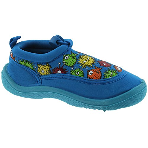 BOYS INFANTS YELLO BLACK BLUE PUFFA FISH AQUA SOCKS BEACH SHOES FW930-Blue-UK 9 (EU 27)
