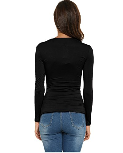 Baishenggt womens long sleeve v neck zipper sexy chiffon pullover t-shirt blouse