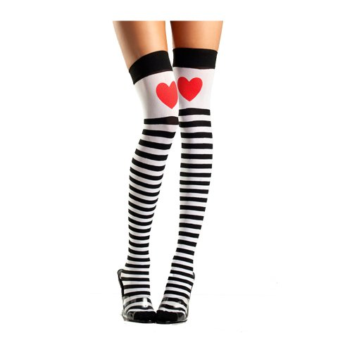 (Striped Thigh High Stockings with Red Heart Costume Accessory)