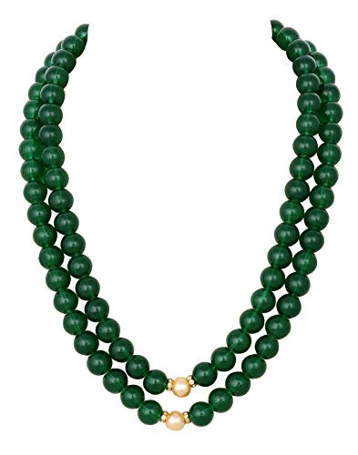 VISHAKA PEARLS AND JEWELLERS Party Wear Green Crystal Stone Pearl Necklace Set with Earrings for Women (B07W9CB2GH) Amazon Price History, Amazon Price Tracker
