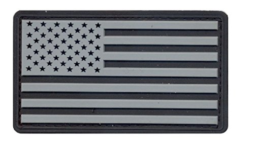 Usa Pvc Military American Flag Patch With Hook Backing ()