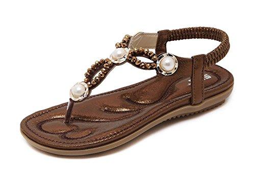 Las sandalias los zapatos planos del diamante perla de cuentas de las mujeres de gran tamaño de las sandalias coffee