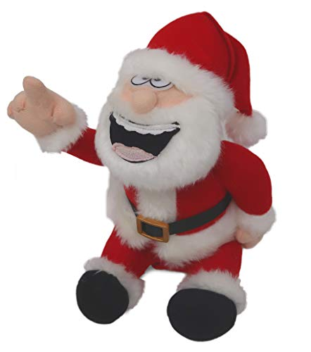 4E's Novelty Christmas Holiday Gag Gift Pull My Finger Talking Santa Claus, Animated Farting Doll, Great Fun for Xmas Party, Funny Plush Stuffed Toys (Funny Jokes Santa Claus)
