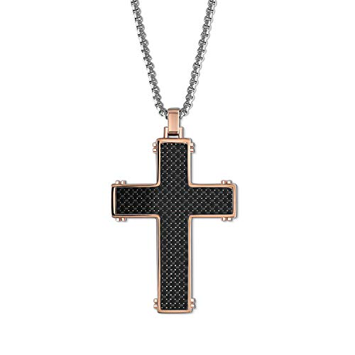 - QLEESI Mens Necklace Stainless Steel Chain, Men Necklace Chain Pendant Rose Gold Black Carbon Fiber Inlay, Adjustable 20 Inches 2mm Wide Stainless Steel Box Chain Necklace Jewelry Gift for Men, Boys
