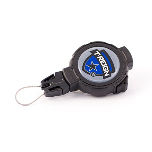T-REIGN Outdoor Large Retractable Gear Tether, Rotating Clip, 48 Kevlar Cord, 8 oz. Retraction, Cord Lock, Black Polycarbonate Case, Universal Attachment