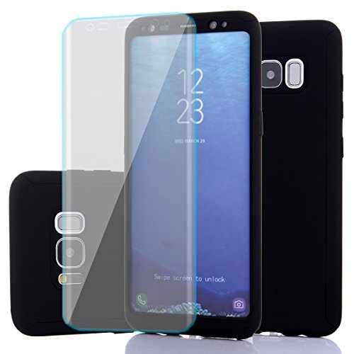 Price comparison product image Samsung Galaxy S8 Case,Full Body Protection Ultra-thin Hard PC case with A Soft HD Screen Protector 360 All Round Anti Scratch Removable Hybrid Cover for galaxy S8 (Black)